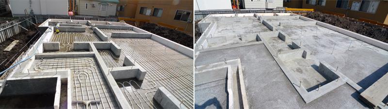ヒートポンプ基礎蓄熱式床下暖房施工事例